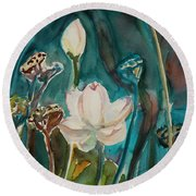 Round Beach Towel featuring the painting Lotus Study I by Xueling Zou