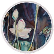 Round Beach Towel featuring the painting Lotus Study II by Xueling Zou