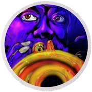 Round Beach Towel featuring the painting Louie by DC Langer