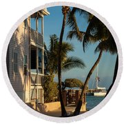 Louie's Backyard Round Beach Towel