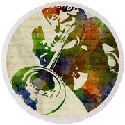 Louis Armstrong Watercolor Round Beach Towel