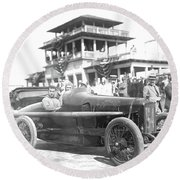 Louis Chevrolet At Indy Bw Round Beach Towel