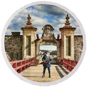 Louisbourg Fortress, Nova Scotia Round Beach Towel