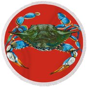 Round Beach Towel featuring the painting Louisiana Blue On Red by Dianne Parks
