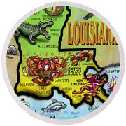 Louisiana Cartoon Map Round Beach Towel