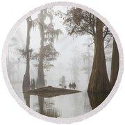Louisiana Cypress Swamp On A Foggy Morning Three Round Beach Towel