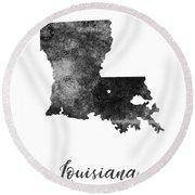 Louisiana State Map Art - Grunge Silhouette Round Beach Towel