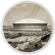 Round Beach Towel featuring the photograph Louisiana Superdome by KG Thienemann