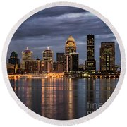 Round Beach Towel featuring the photograph Louisville At Dusk by Andrea Silies