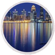 Louisville During Blue Hour Round Beach Towel by Frozen in Time Fine Art Photography