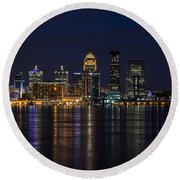 Round Beach Towel featuring the photograph Louisville Skyline by Andrea Silies