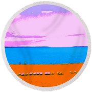 Lounge Chairs On The Beach Round Beach Towel