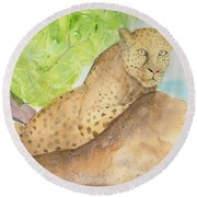 Round Beach Towel featuring the painting Lounging Leopard by Vicki  Housel