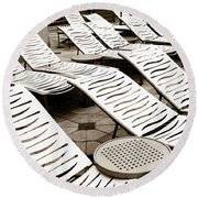 Round Beach Towel featuring the photograph Lounging Lines by Marilyn Hunt