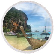 Lounging Longboats Round Beach Towel