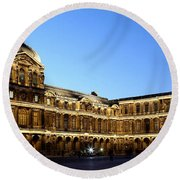 Round Beach Towel featuring the photograph Louvre At Night 1 by Andrew Fare