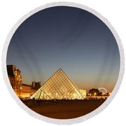 Round Beach Towel featuring the photograph Louvre At Night 2 by Andrew Fare