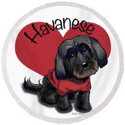 Lovable Black Havanese Round Beach Towel