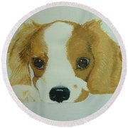 Round Beach Towel featuring the painting Lovable Puppy by Norm Starks