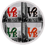 Round Beach Towel featuring the photograph Love 4 All by DJ Florek