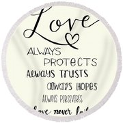 Round Beach Towel featuring the drawing Love Always by Nancy Ingersoll
