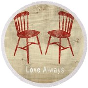 Love Always Red Chairs- Art By Linda Woods Round Beach Towel