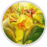 Love Among The Orchids Round Beach Towel