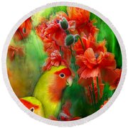 Love Among The Poppies Round Beach Towel