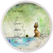 Love And A Cat Ginkelmier Round Beach Towel