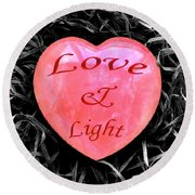 Love And Light Round Beach Towel by Hazy Apple