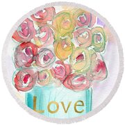 Love And Roses- Art By Linda Woods Round Beach Towel