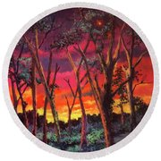 Love And The Evening Star Round Beach Towel