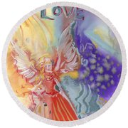 Love Angel Round Beach Towel