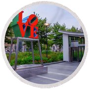 Round Beach Towel featuring the photograph Love At Dilworth Plaza - Philadelphia by Bill Cannon