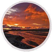 Love At First Light Round Beach Towel