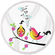 Love Bird Serenade Round Beach Towel