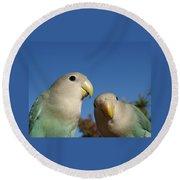 Love Birds 2 Round Beach Towel