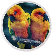 Round Beach Towel featuring the photograph Love Birds by Chris Lord
