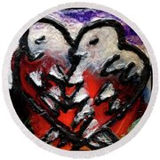 Round Beach Towel featuring the painting Love Birds by Genevieve Esson
