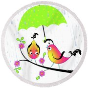 Love Birds In Rain Round Beach Towel