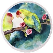 Love Birds On Branch Round Beach Towel
