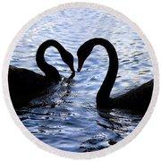 Love Birds On Swan Lake Round Beach Towel
