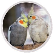 Love Birds Round Beach Towel