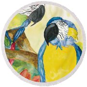 Round Beach Towel featuring the painting Love Birds by Vicki  Housel