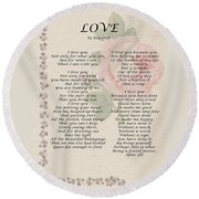 Love By Roy Croft Round Beach Towel