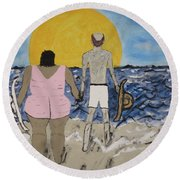Love Comes In All Sizes Round Beach Towel