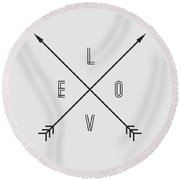 Love Compass Round Beach Towel by Taylan Apukovska