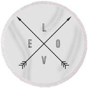 Love Compass Round Beach Towel