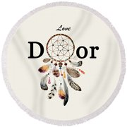 Round Beach Towel featuring the painting Love Dior Watercolour Dreamcatcher by Georgeta Blanaru