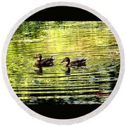 Round Beach Towel featuring the photograph Love Ducks by Sadie Reneau